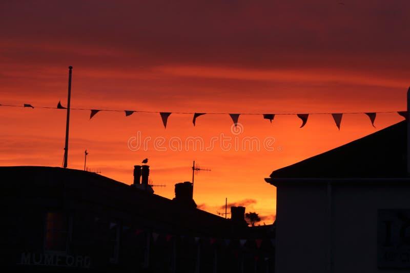 Vogel-und Gebäude-Sonnenuntergang-Schattenbild lizenzfreies stockfoto