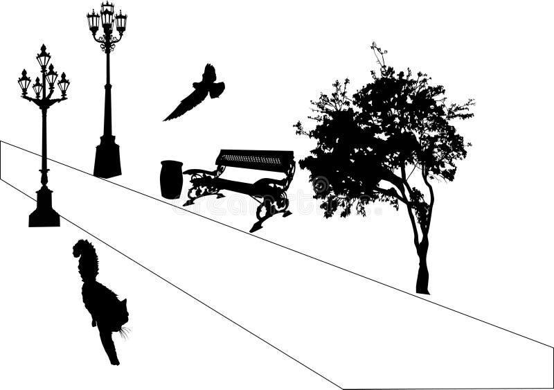 Vogel und Katze im Park lizenzfreie abbildung
