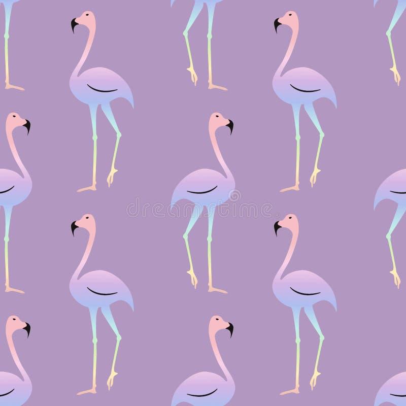 Vogel van de flamingo de kleurrijke regenboog Mooi naadloos patroon royalty-vrije illustratie