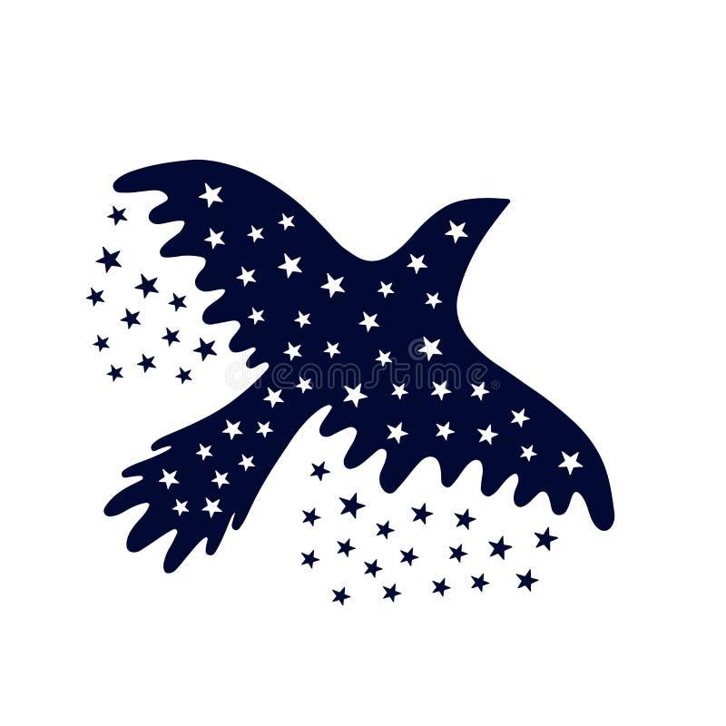Vogel van de nacht Vliegende die vogel en sterren op wit wordt geïsoleerd stock illustratie