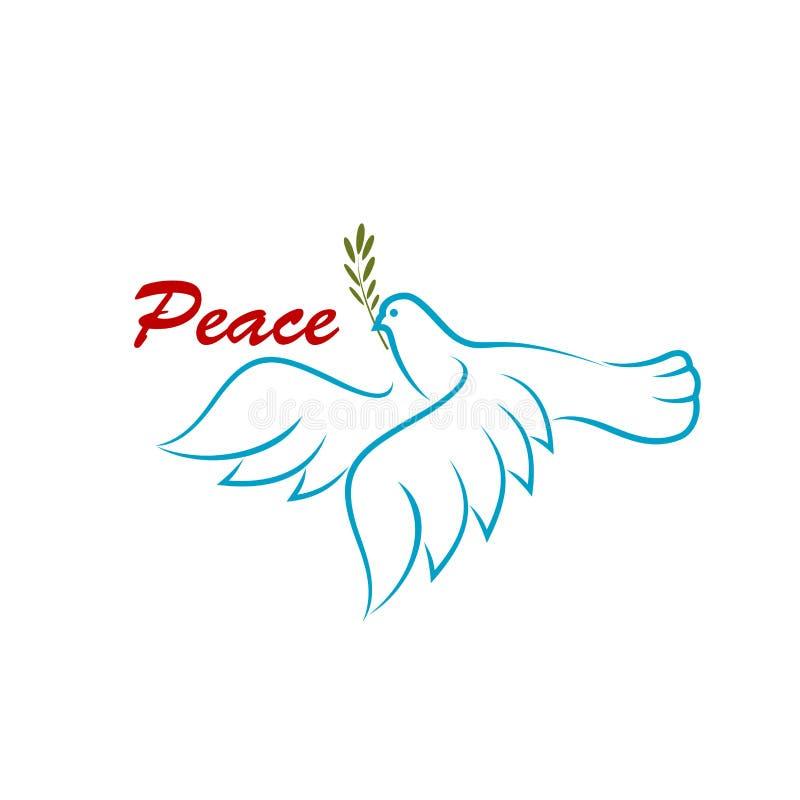 Vogel van vrede met groene olijftak royalty-vrije illustratie