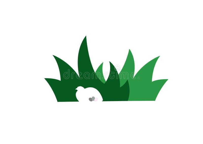Vogel versteckt im Gras stock abbildung