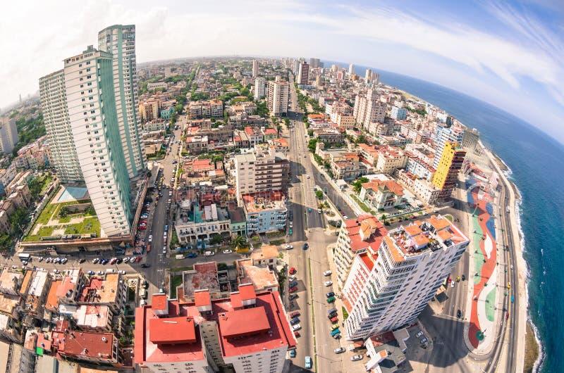 Vogelaugenvogelperspektive von Havana-Stadthauptstadt von Kuba stockfotografie