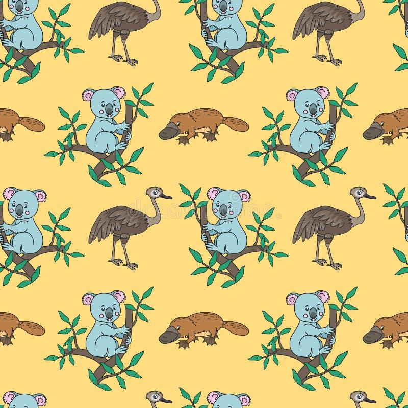 Vogelbekdieren, Struisvogel, Koala stock illustratie