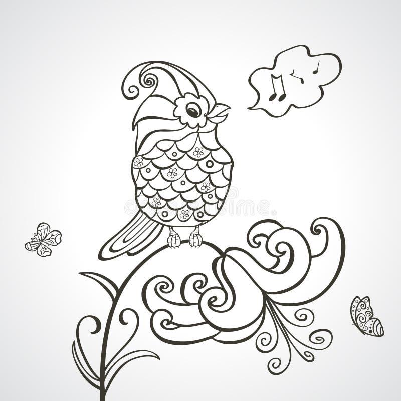 Vogelblumenschattenbild stock abbildung