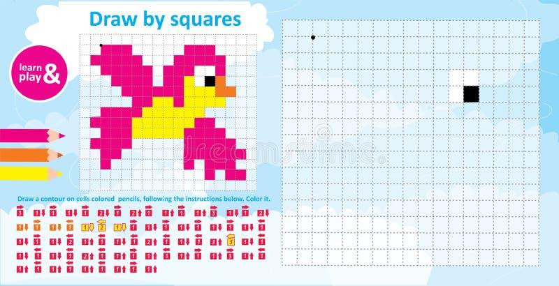 Vogelfarbe durch Zahlen ein Lernspiel für Kinder Farbton mit Andeutungen der Richtungsfarbe des Bleistifts zu zeichnen vektor abbildung