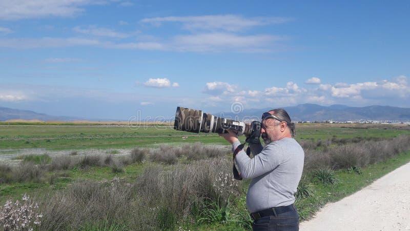 Vogelfotograaf stock foto's