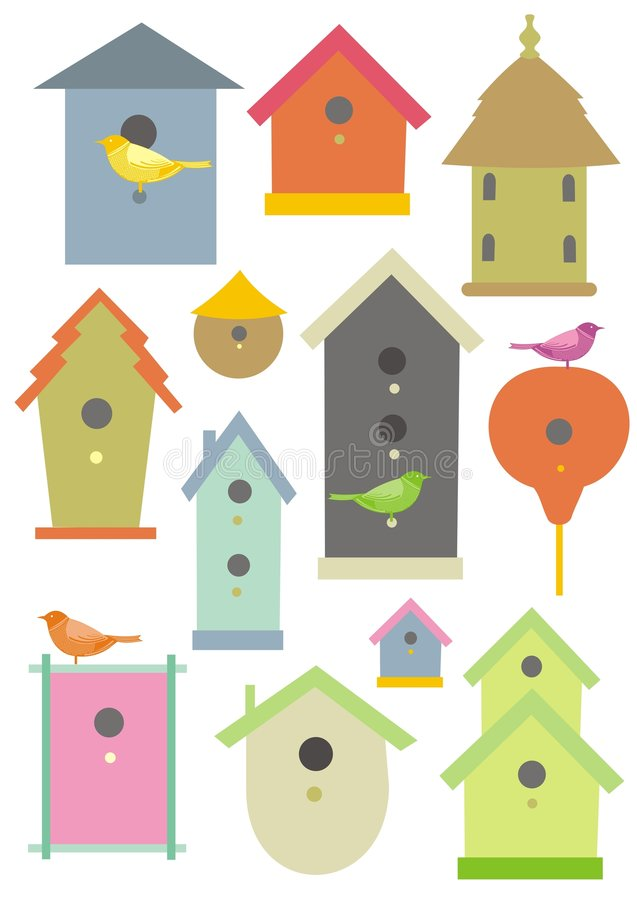 Vogelhäuser stock abbildung