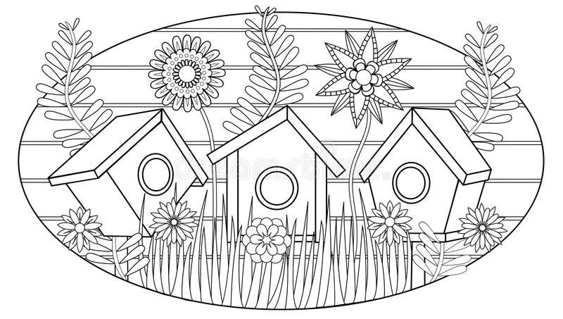 Vogelhäuser im Garten, Vektorillustration für erwachsenes Malbuch vektor abbildung