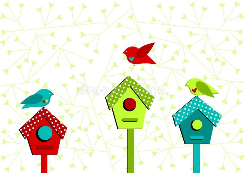 Vogelhäuser und Liebesvogel-Valentinsgrußkarte stock abbildung