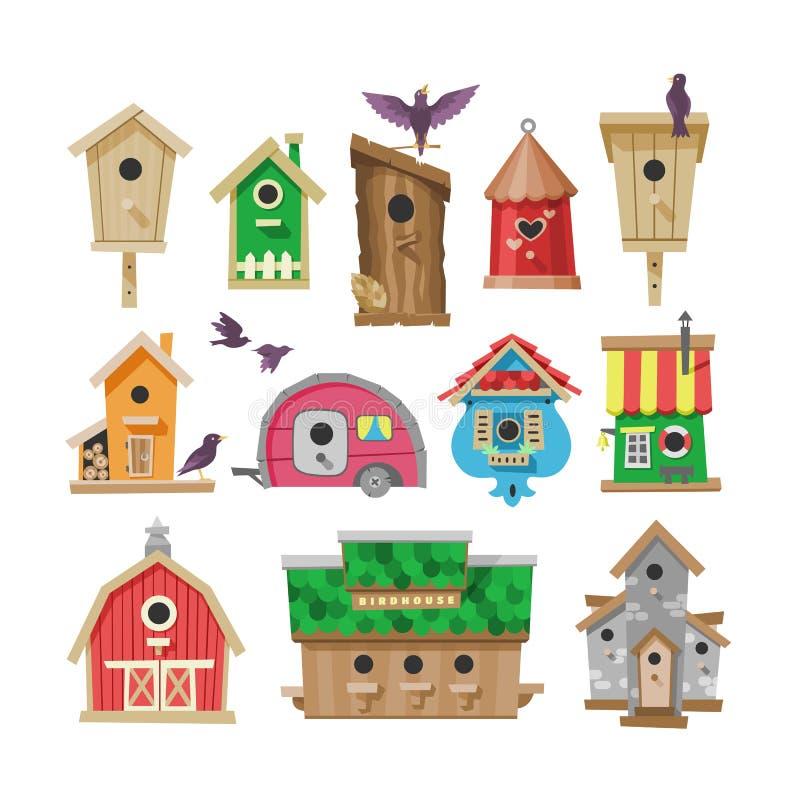 Vogelhausvektor-Karikatur birdbox und Piepmatzholzhausillustrationssatz Vögel, die Birdsongs im dekorativen Haus singen vektor abbildung