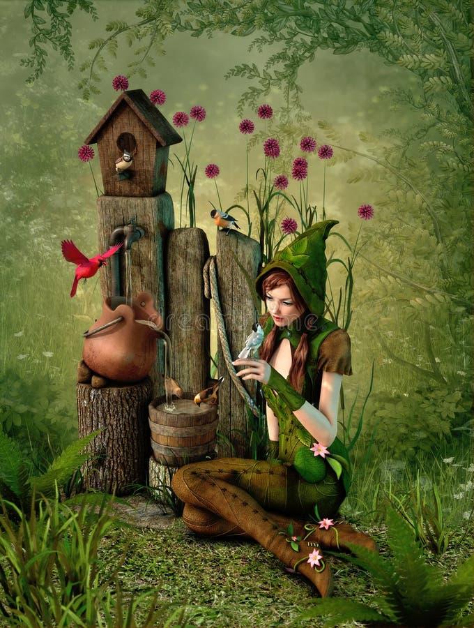 Vogelhuis, 3d CG stock illustratie
