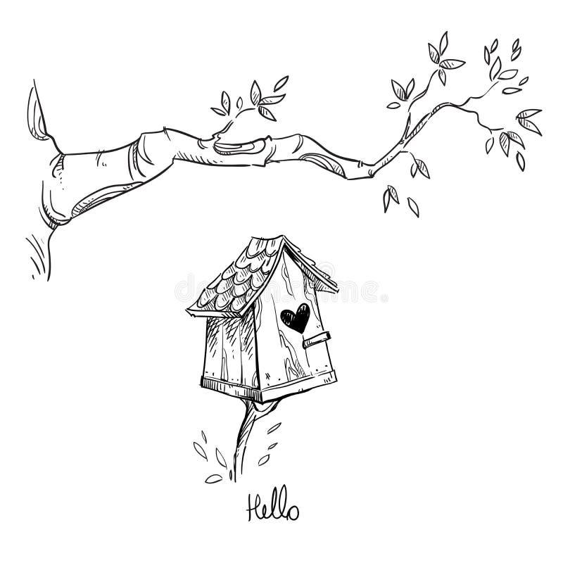 Vogelhuis en de boomtak, vectorillustratie royalty-vrije illustratie