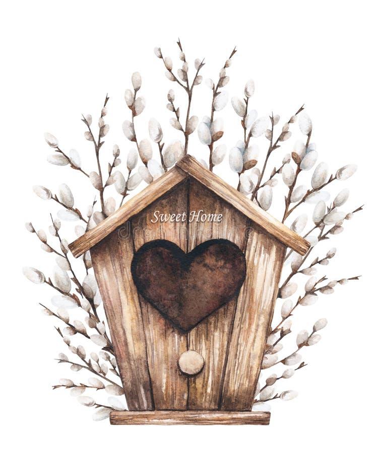 Vogelhuis en wilg stock illustratie