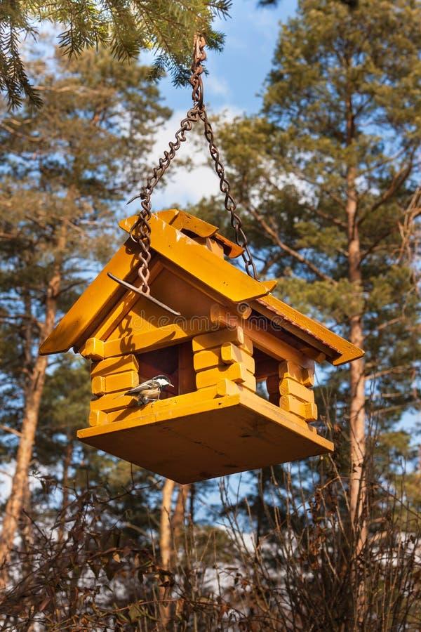 Vogelhuis in het hout Voedsel voor kleine vogels royalty-vrije stock fotografie