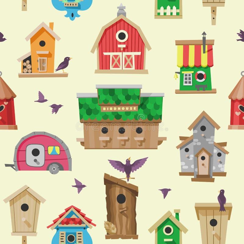 Vogelhuis vectorbeeldverhaal birdbox en de illustratiereeks van het vogeltjeblokhuis vogels die birdsongs in decoratief huis zing vector illustratie