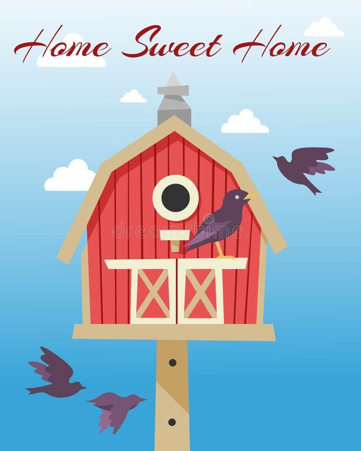 Vogelhuizen met de vliegende vectorillustratie van de vogelsaffiche Het Zoete Huis van het huis Het nestelen dozen op boom te han vector illustratie