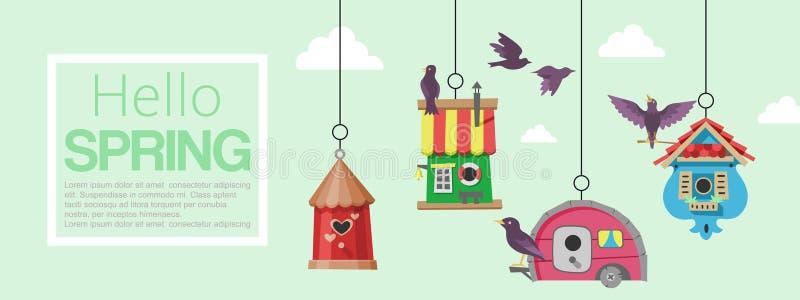 Vogelhuizen met de vliegende vectorillustratie van de vogelsbanner Hello-de Lente Het nestelen dozen op boom te hangen Houten kle stock illustratie