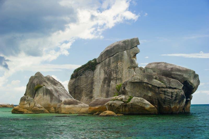 Vogelinsel belitung Indonesien-Grenzstein stockbilder