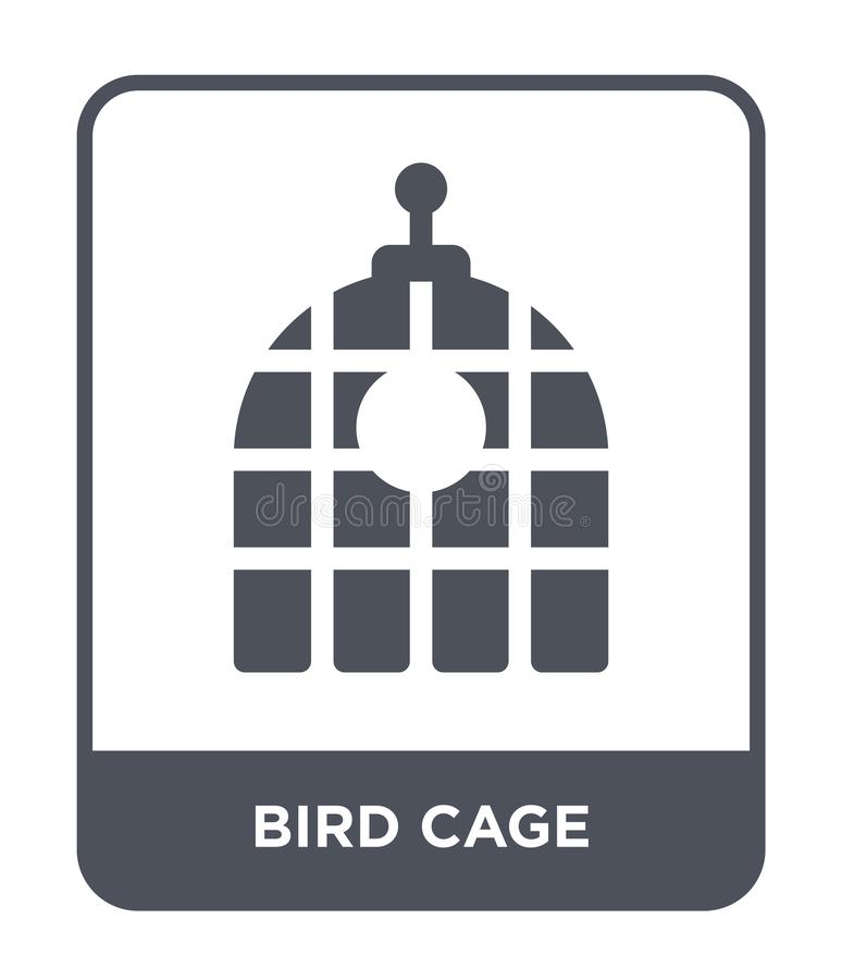 Vogelkäfigikone in der modischen Entwurfsart Vogelkäfigikone lokalisiert auf weißem Hintergrund einfache und moderne Ebene der Vo lizenzfreie abbildung