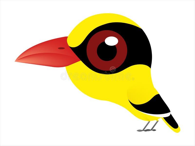 Vogelkarikatur, eine Vogelkarikatur von schwarz--naped Oriole lizenzfreie abbildung