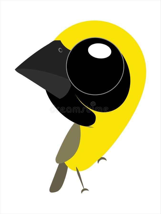Vogelkarikatur, netter Vogel der großen Augen, asiatischer Goldweber vektor abbildung
