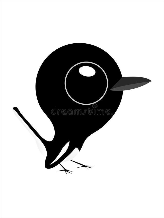 Vogelkarikatur, netter Vogel mit großen Augen, orientalisches Elsterrotkehlchen vektor abbildung