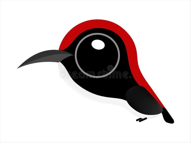 Vogelkarikatur, netter Vogel mit großen Augen, Scharlachrot-unterstütztes Flowerpecker stock abbildung