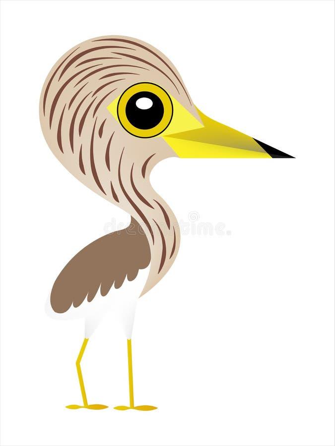 Vogelkarikatur, netter Vogel mit großen Augen, Teich-Reiher stock abbildung