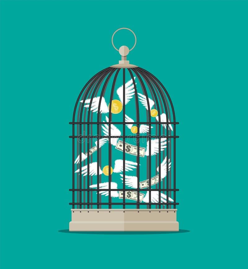 Vogelkooi met vliegend geld vector illustratie