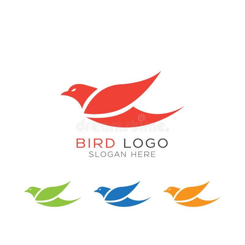 Vogellogo mit unterschiedlicher Farbe auf weißem Hintergrund stock abbildung