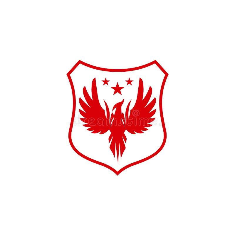 Vogellogoentwurf, Phoenix-Logo, Falkelogo, Adlerlogoentwurf, Kreiskonzeptschablone, Vektorikonen vektor abbildung