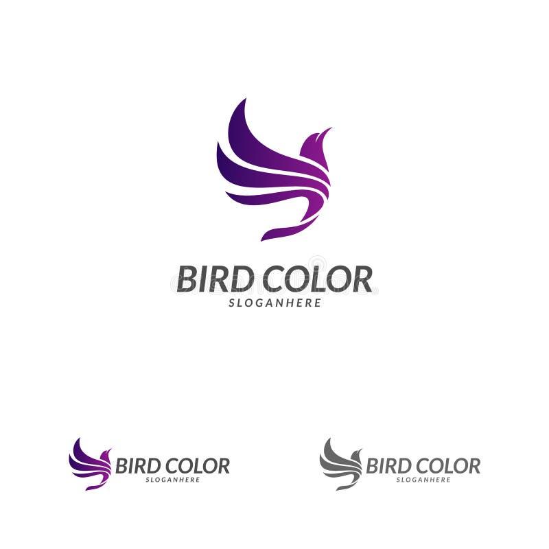 Vogellogovektor Fliegen-Vogel-Logoentwurfs-Vektorschablone Tauben-Tauben-Firmenzeichenkonzeptikone stock abbildung
