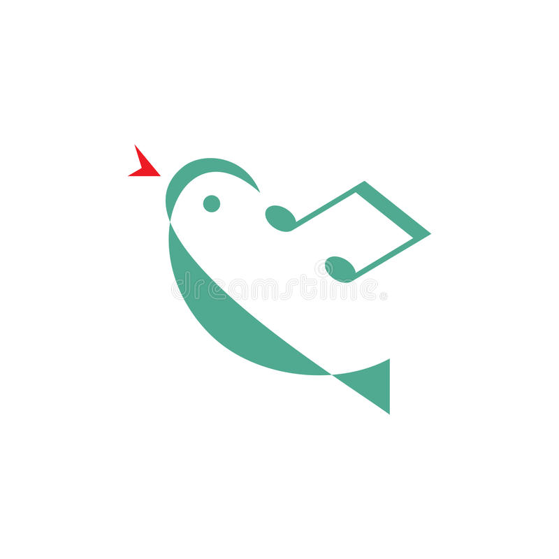 Vogelmelodie - de vectorillustratie van het embleemconcept Minimale stijl Het concept van het muziekembleem Vectorembleemmalplaat vector illustratie