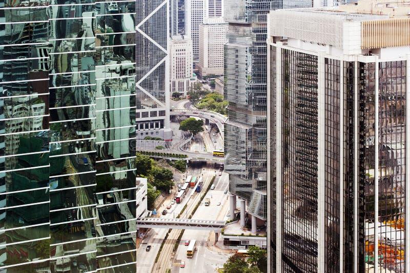 Vogelmening van cityscape, moderne gebouwen, weg in Hong Kong City in China royalty-vrije stock afbeelding