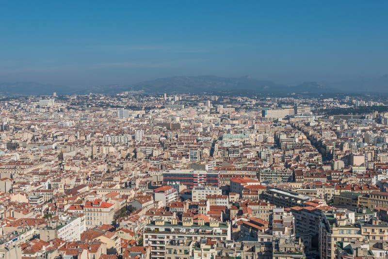 Vogelmening van de stad Marseille, Frankrijk stock fotografie