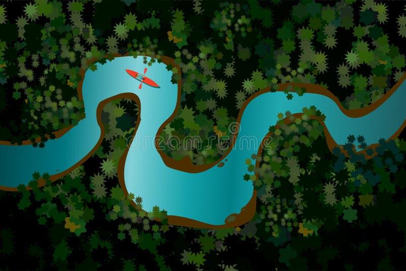Vogelmening van een bosrivier met rode boot Mens op kano De vectorillustratie van het beeldverhaal De achtergrond van de vakantie royalty-vrije illustratie