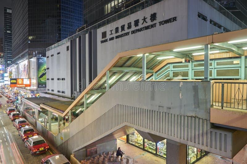 Vogelmening van Mongkok bij nacht in Hongkong royalty-vrije stock foto's