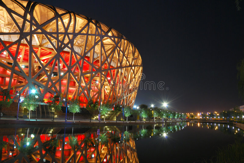 Vogelnest (das Peking-nationale Stadion) stockfotos