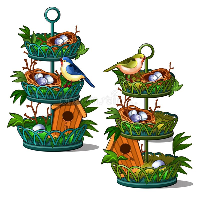 Vogelnest mit Eiern im Hauptinnenraum Blaue und grüne Vögel Vektorillustration lokalisiert auf Weiß vektor abbildung
