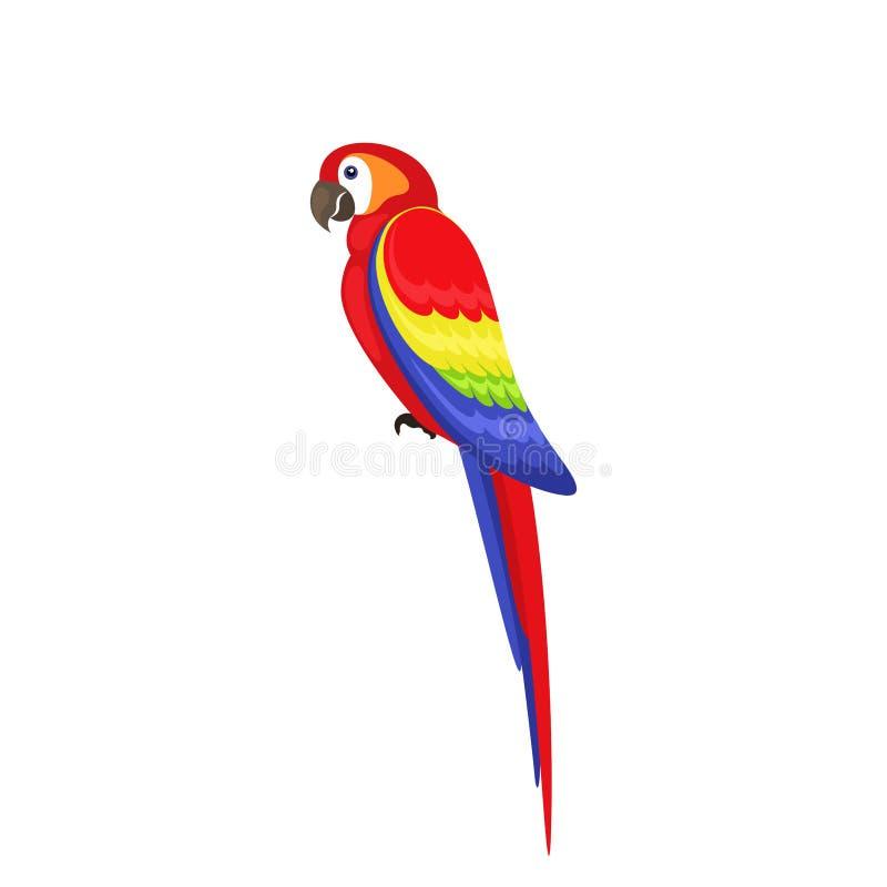 Vogelpapegaai met vlakke stijl op witte achtergrond stock afbeeldingen