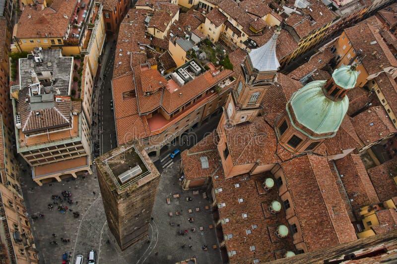 Vogelperspectief van Bologna stock foto's