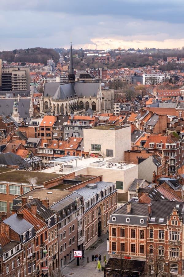 Vogelperspectief van de oude stad van Leuven, Vlaanderen, België stock foto's