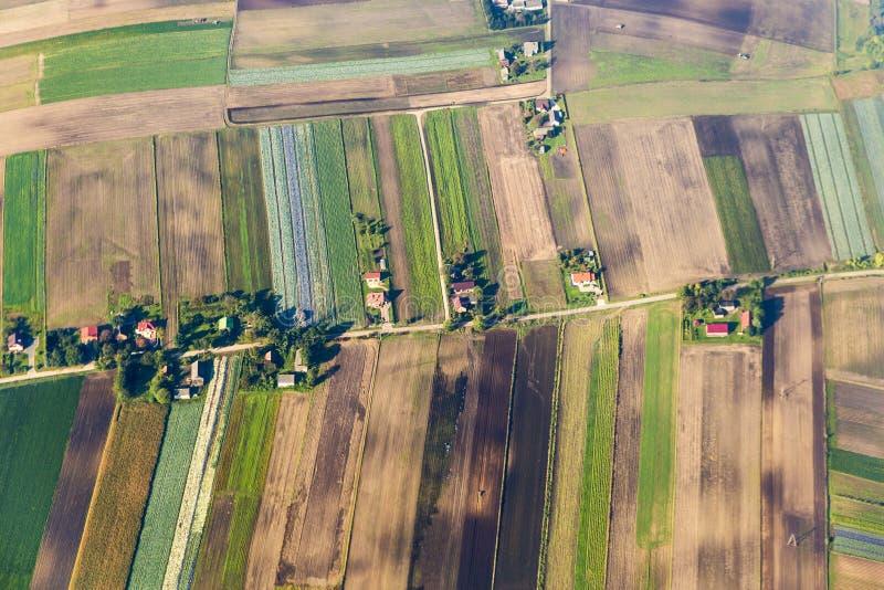 Vogelperspectief van landelijk landschap stock foto