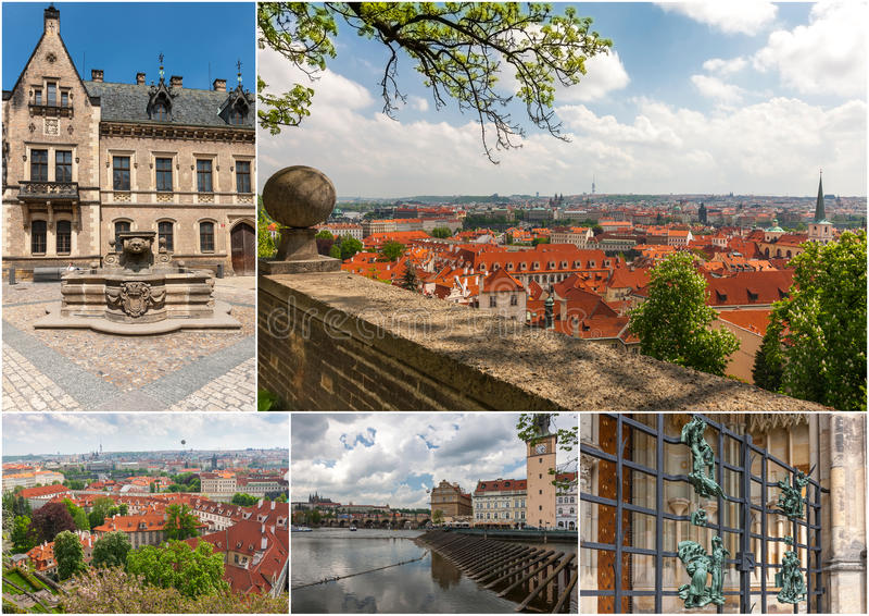 Vogelperspektive über alter Stadt, Prag, Tschechische Republik lizenzfreie stockfotografie