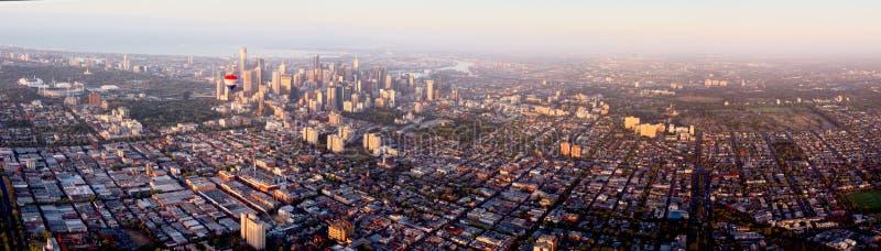 Vogelperspektive über Melbourne stockbild