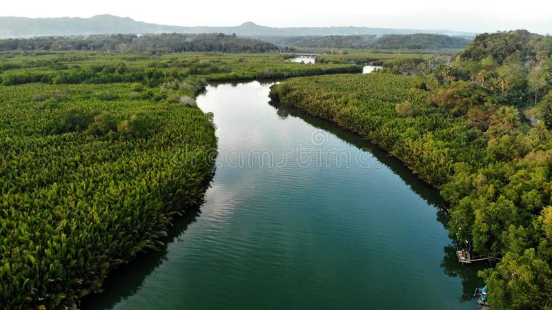 Vogelperspektive, Abatan, Fluss, Filipino stockfotografie