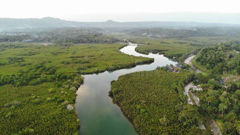 Vogelperspektive, Abatan-Fluss, philippinisch stockbild