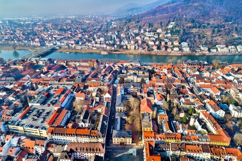 Vogelperspektive alter Stadt Heidelbergs in Deutschland lizenzfreies stockfoto
