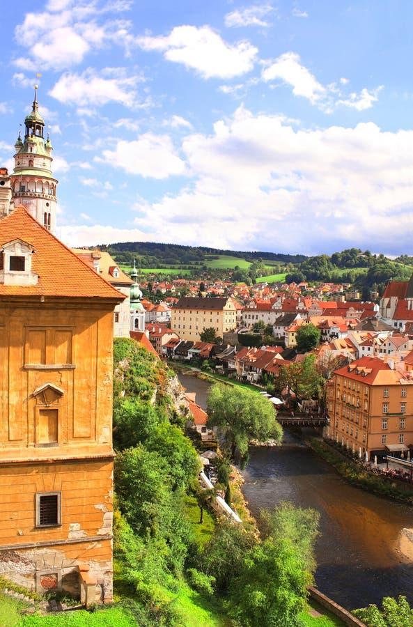 Vogelperspektive auf Cesky Krumlov, Tschechische Republik stockfoto